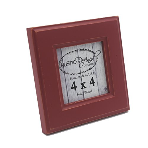 4x4 Square Picture Frame with 1.5 Inch Border (Moab Collection) - Barn Red (Table Solid Alder Side)