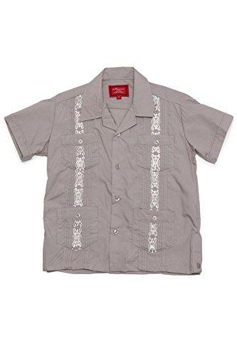 G-Style USA Boys Junior Kids Youth Guayabera Cuban Short Sleeve Collared Embroidered 4 Pocket Cotton Blend Shirt 2017-KS - Grey - ()