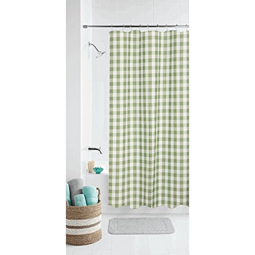 Gingham Shower Curtains - Domestic Home Modern Country Farmhouse Gingham Buffalo Checks Fabric Shower Curtain Bathroom Green & White