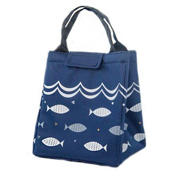 (K&A Company Fish Pattern Oxford Picnic Bag Aluminum Foil Insulation Package Waterproof Cooler Lunch Box Bag, Dark Blue)