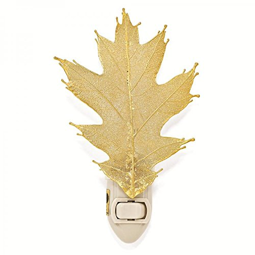 Lights Iridescent Copper Night - The Rose Lady Iridescent Copper or 14kt Gold Dipped Real Oak Leaf Nightlight -Made in USA (Copper)