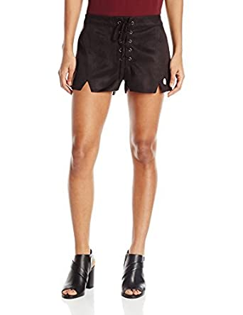 f1076048b9 Lucca Couture Women's Faux Suede Lace-up Notched Shorts | Amazon.com