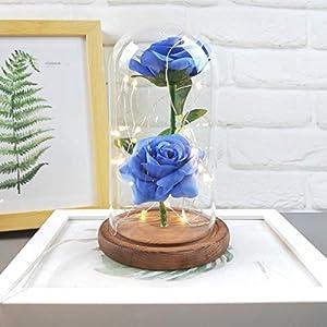 Longay Romantic Glass Rose Wedding Decoration Home Furnishing Holiday Gifts (Blue) 4