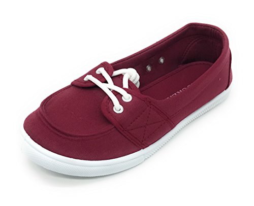 Blue Berry EASY21 Damen Canvas Round Toe Slip auf flachen Sneaker Oxford Bootsschuh Burgund