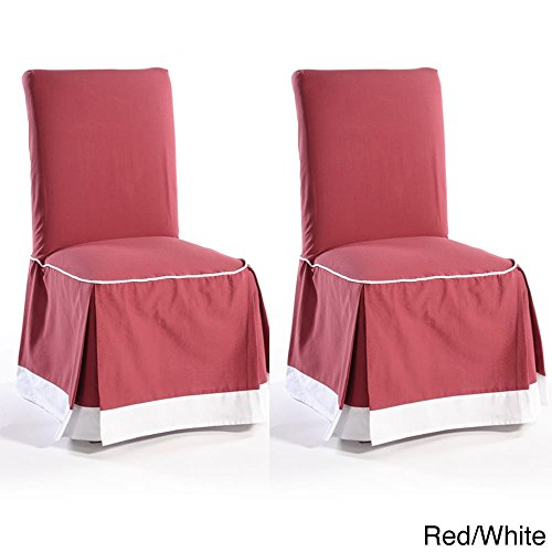 Classic Slipcovers Skirted Two-tone Cotton Dining Chair Slipcovers (Set of 2) Red (Chair Skirted Pads)