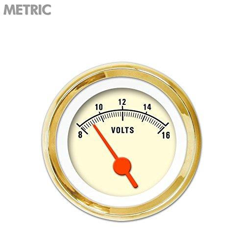 Orange Vintage Needles, Gold Trim Rings, Style Kit Installed Aurora Instruments 5617 Muscle Tan Metric Volt Gauge