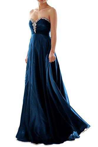 MACloth Women Strapless Crystal Chiffon Long Prom Dress Evening ...