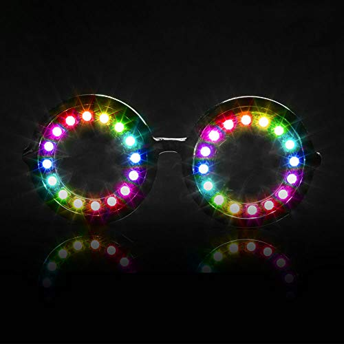 GloFX Pixel Pro LED Glasses [350+ Epic Modes] - Programmable Rechargeable Light Up EDM Festival Rave Party Sunglasses