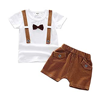 Fairy Baby Baby Boys Summer Gentleman Outfit Clothes Tops Tee Shirt+Striped Shorts Pant Set Size 2T (Khaki)