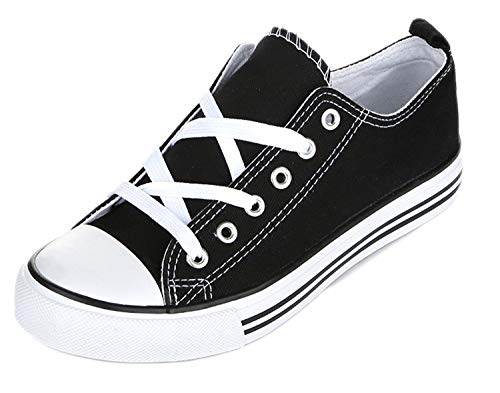 Shop Pretty Girl Women's Sneakers Casual Canvas Shoes Solid Colors Low Top Lace up Flat Fashion (Nine9, Black and White) (High Shoes Canvas)