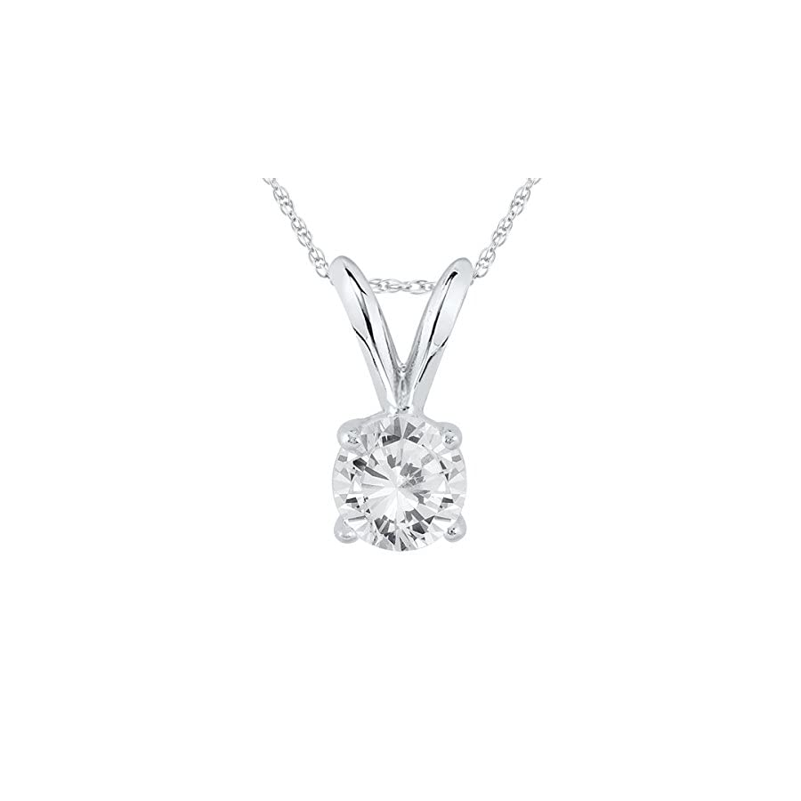 AGS Certified 1/3 Carat Round Diamond Solitaire Pendant in 14K White Gold (K L Color, I2 I3 Clarity)