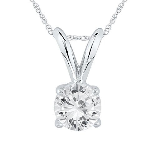 AGS Certified 1/3 Carat Round Diamond Solitaire Pendant in 14K White Gold (K-L Color, I2-I3 Clarity) by Szul