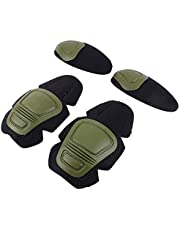 Tactische Knie- en Elleboogbeschermer Pad Voor Paintball Airsoft Combat Uniform Militair Pak 2 kniebeschermers & 2 elleboogkussens/Set, Groen