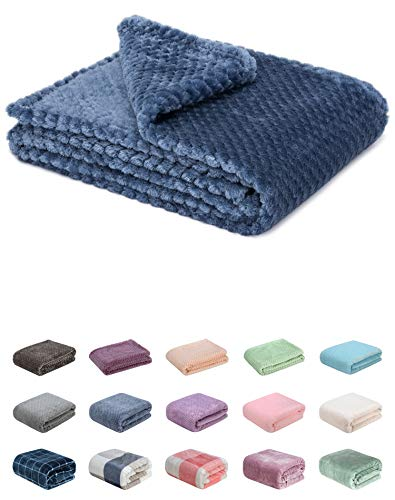 Fuzzy blanket or fluffy blanket for baby girl or boy, soft warm cozy coral fleece toddler, infant or newborn receiving blanket for crib, stroller, travel, outdoor, decorative (28 x 40 in, Smoked blue)