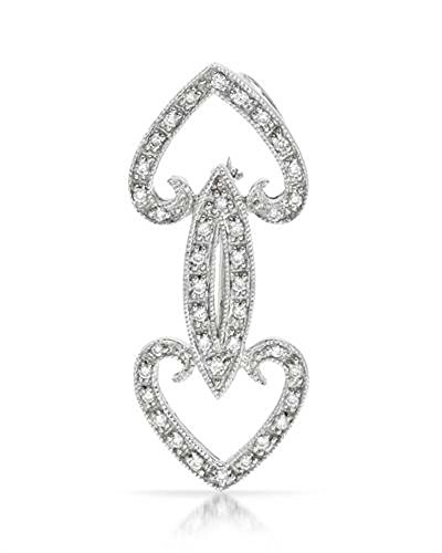 0.27CTW Ladies Round Cut Diamond Pave Set Double Heart Shaped Diamond Brooch in 18K White Gold