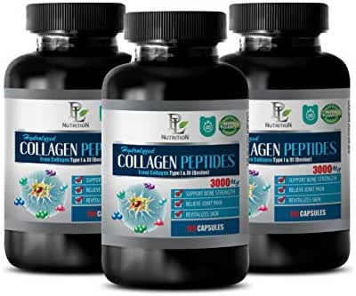 Hair Skin and Nails Supplements for Women - HYDROLYZED Collagen PEPTIDES 3000MG from Type I & III - Collagen Supplements Capsules for Women - 3 Bottles 360 Capsules