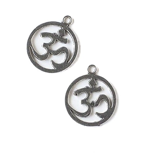 Pewter Charms Shaped - Cherry Blossom Beads 19x22mm Silver Pewter Coin Shaped Om Ohm Aum Charm - 10 Per Bag
