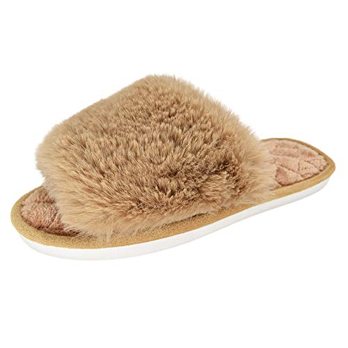 HUMIWA Coffe Women's Fuzzy Fur Flat Slippers Soft Open Toe House Slippers Memory Foam Sandals Slides Home Slippers for Girls