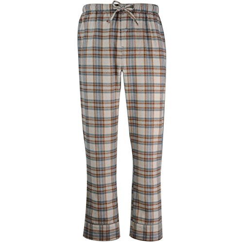 FABIO&VIOLA Men's Cotton Flannel Plaid Soft Lounge Sleep Pajama Pants with Pockets Size Big and Tall by (Stone Brown, XL)