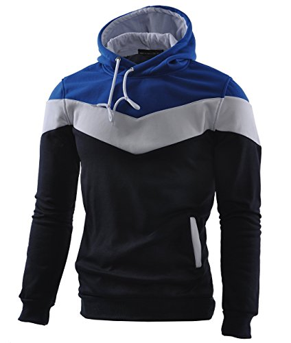 Mooncolour Mens Novelty Color Block Hoodies Cozy Sport Autumn Outwear, Dark Blue, US Large