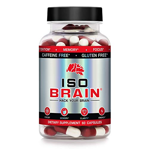 Iso Brain - 30 Day Supply - Stimulant Free - Memory, Focus, Mood, Attention, Clarity, Cognitive Function - Advanced Nootropic Brain Supplement - Cognizin Citicoline Choline P-5-P Blended Supplement