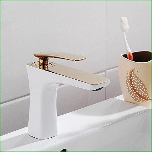YSRBath Modern Bathroom Sink Faucet Golden Punch Face Baked White Paint Cold Water Kitchen Bathroom Basin Mixer Tap Basin Faucet
