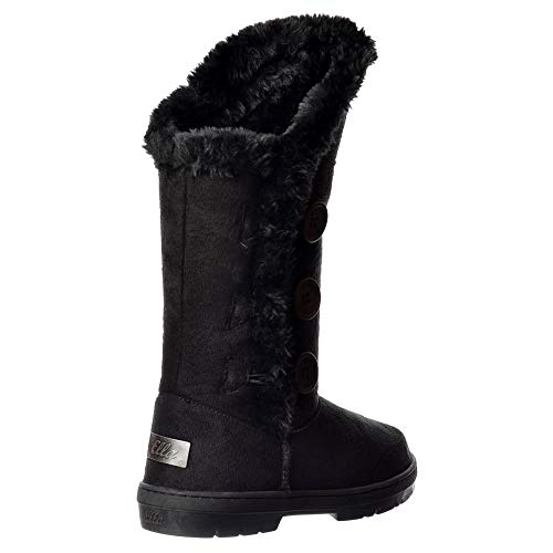Sky Ladies Size 3 Flat Ella Winter Lined Triple Fur Button Walker New 3 Warm Boots Fully Black to Women 8 rtArSq