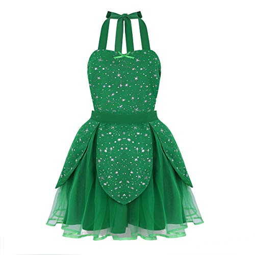 iEFiEL Women's Girl Sparkly Star Lovely Sweetheart Retro Tutu Halloween Costume Apron Dress Green One_Size ()