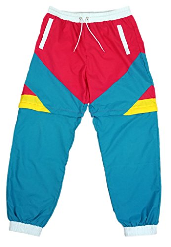 Funny Guy Mugs Like Totally 80s & 90s Retro Neon Windbreaker Pants - Convertible Shorts Or Pants - (80s Neon Fashion)