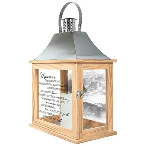 Memories Wooden Memorial Candle Lantern with Stainless Steel Top