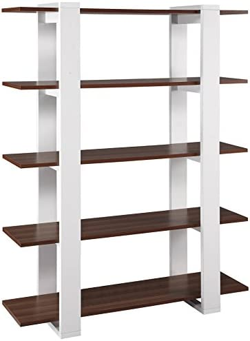 ioHOMES Marcel Contemporary 5 Storage Shelves Display Stand, White and Walnut