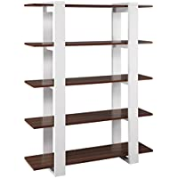 ioHOMES Marcel 5-Shelves Display Stand, White and Walnut