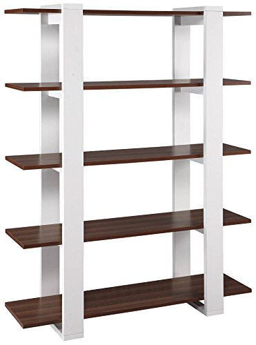 ioHOMES Marcel 5-Shelves Display Stand, White and Walnut - Modern five shelves display stand is a perfect combination of modern and elegant with its two toned finish Product is made of medium fiber board construction; laminate white finish frame; laminate walnut finish shelves Five vertical display shelves; two solid interlocking base; furniture can be use as bookcase or room divider; open back for airy appearance - living-room-furniture, living-room, bookcases-bookshelves - 41KzmLsq9fL -