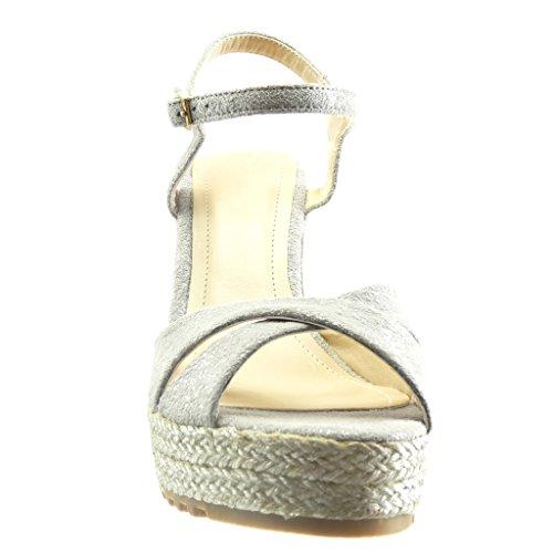 Angkorly Damen Schuhe Sandalen Espadrilles - Plateauschuhe - Seil Keilabsatz High Heel 11.5 cm Grau