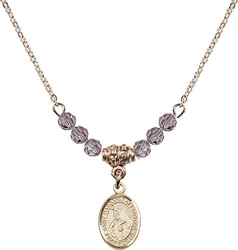 18-Inch Hamilton Gold Plated Necklace with 4mm Light Amethyst Birthstone Beads and Saint Margaret of Cortona Charm. Purple Light Amethyst June Birthstone Patron Saint of - 4 Cortona Light
