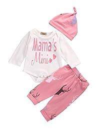 Cute Baby Girl Letter Printed Tops Romper+Deer Pants 0-24M Outfits Set
