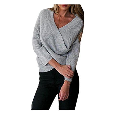 maglione Koly manica Maglieria casuale pullover a Maglia Grigio lunga allentato xrqwFS0rE