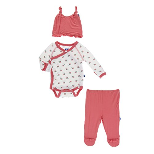 Kickee Pants Little Girls Ruffle Kimono Newborn Gift Set with Elephant Gift Box - Natural Rose Bud, 3-6 Months