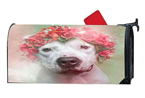 Magnetic mailbox cover Garden Magnetic - Flower Power Pit Bulls Dog by Mailboxcoverfhiw (Image #1)