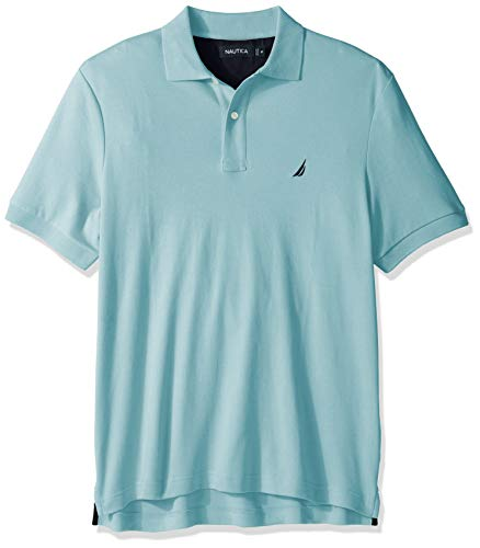 Nautica Men's Classic Fit Short Sleeve Solid Soft Cotton Polo Shirt, Harbor Mist, Large