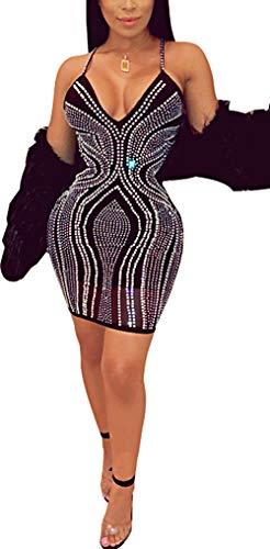 Fadvanes Women Sexy Sparkly Rhinestone Mini Dress Deep V Neck Halter Backless Sleeveless Low Chest Bodycon Skirt Clubwear, Black, L