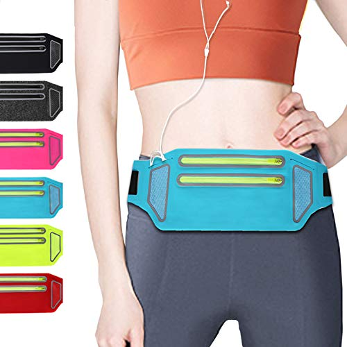 QUANFUN Slim Running Belt, Fanny Packs Waist Pack with Two Zipper Pockets Pouch Bag for Women Men, Workout Phone Holder Compatible for iPhone XR XS Max X 8+, Galaxy, Fits up to 6.5