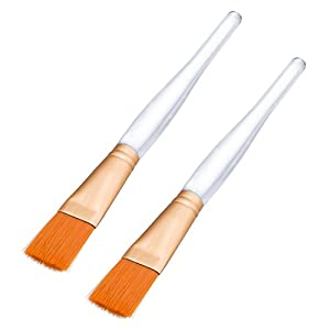 Hotop 2 Pack Soft Facial Mask Brush Makeup Applicator Cosmetic Tools with Clear Plastic Handle for Facial Mask Eye Mask DIY Needs