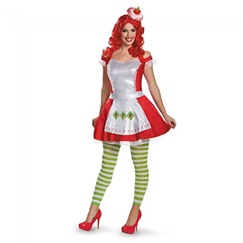 Disguise Women's Strawberry Shortcake Deluxe Adult Costume, Multi, (Strawberry Shortcake Costumes For Adults)