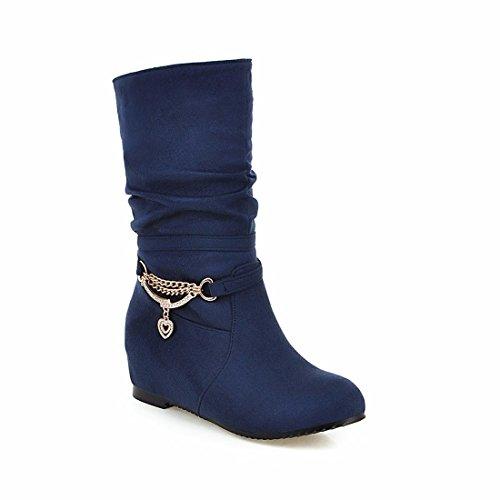 RFF-Women's Shoes L'automne et L'Hiver a Augmenté en Forme d'épaisses Bottes Martin Bottes,Bleu,40
