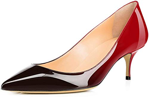 Ayercony Pumps for Woman, Kitten Heel Pumps Pointed Toe Shoes Slip-On High Heel for Dress Office