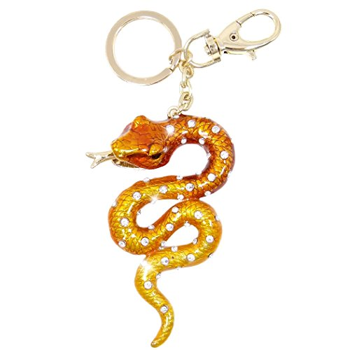 (EVER FAITH Snake Austrian Crystal Brown Enamel Keychain)