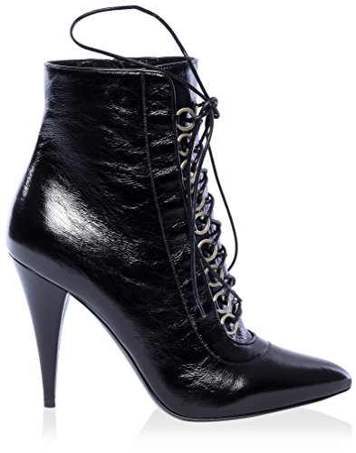 Saint Laurent Women's Laceup Point Toe Ankle Boot Black Cned7H
