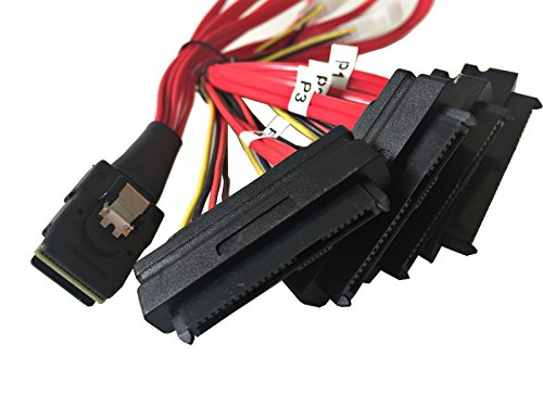 AYA 20'' Mini SAS 36-Pin SFF-8087 Male to SFF-8482 29-Pin Female + 4-Pin Power Cable by AYAGROUP (Image #1)'