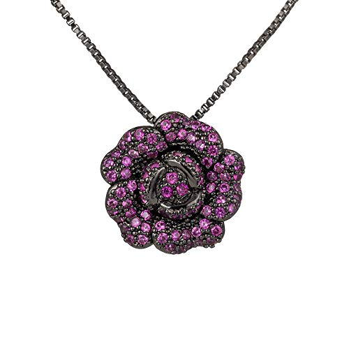 (Pink Rose Pendant Necklace with CZ Crystal Vintage Flower Necklace Ruby Cubic Zirconia Rhinestone Floral Pendant for Women)